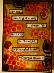 A STRANGLED LAUGH (Beth Kingery Creations) Tags: life orange black color green art atc artisttradingcard collage pen ink painting paper design paint purple image handmade quote mixedmedia creative craft stamp card swap laugh marker create dots strangled trade gel