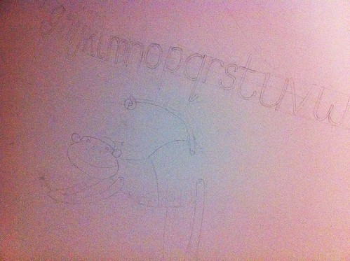 The mural so far - outline drawing of the funky monkey