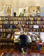 Alasdair Gray drawing (Wil Freeborn) Tags: drawing gray books watercolour alasdair
