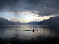 rameur solitaire (overthemoon) Tags: blue red white lake snow mountains rain sport clouds landscape grey schweiz switzerland view suisse gray calm rowing svizzera solitary léman vevey oars swissflag vaud dentsdumidi lakescape romandie swissness myswitzerland natureplus suissitude bestofr 1j1t