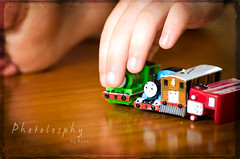 Mini Trains (RGNodak) Tags: boy macro texture train toys foot miniature nikon toes child thomas fingers son tokina bertie percy tobie d7000 odc2