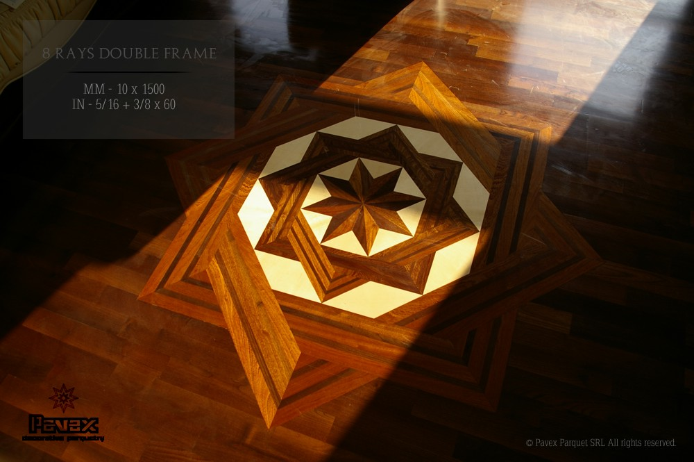 The 8 RAYS Double Frame hardwood floor medallion