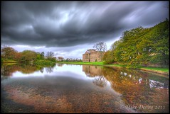 Lyme Park House & Gardens Disley. (Mike926.) Tags: trees house water clouds grey cheshire nationaltrust thunder lymepark stormyclouds disley hailstones digitalcameraclub lymeparkhouse 100commentgroup mikederby flickraward5 flickrawardgallery