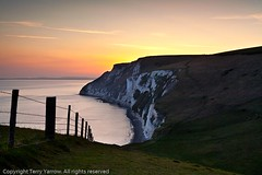 White Nothe sunset (Terry Yarrow) Tags: uk light sunset sea england sky people canon landscape evening coast chalk dorset walkers contrejour jurassiccoast eos5d dorsetcoastpath whitenothe batshead