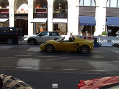 Lotus Elise in Munich (europeanspotter) Tags: red black rot yellow munich mnchen lotus elise ferrari gelb lamborghini scuderia schwarz gallardo f430 maximillianstrase
