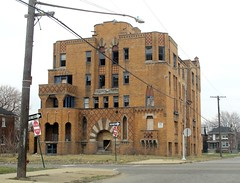 Laredo Apartments, 2749 Elmhurst (southofbloor) Tags: building brick art abandoned apartment detroit masonry moorish deco derelict architeture ruined polychrome polychromy wiedmaierandgay