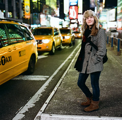 Lauren in Times Square (mat4226) Tags: nyc lauren 120 6x6 film mediumformat iso3200 kodak hasselblad timessquare 500c push portra f28 hotgirl nightportrait mixedlight 80mm bagley filmphotography highasa portra400 blondegirl keepcalm pushprocessing nastylight filmabuse phoblographer laurenbagley thinblonde believeinfilm