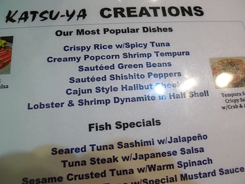 Katsu-Ya's Popular Dishes (on menu)