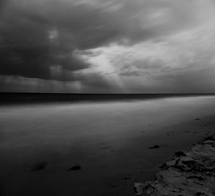 Moonlight Sonata (romverj) Tags: ocean longexposure sea blackandwhite bw cloud moon seaweed west beach water clouds blackwhite timelapse sand long exposure time cloudy salt westpalmbeach palm nighttime nightime moonlight bandw palmbeach lapse saltwater crepusculars