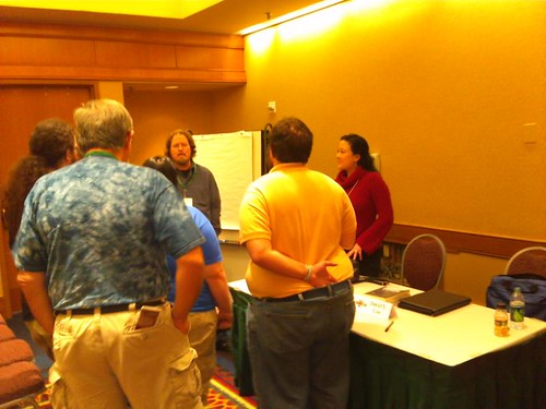 "Writers gather around Eugie Foster after the ""Crafting the Perfect Villain"" panel at JordanCon"