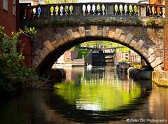 View through Newbury Bridge to Newbury Lock (peter orr photography) Tags: uk bridge england water buildings landscape transport objects canals berkshire newbury locations