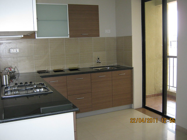 Kitchen & Dry Balcony in the sample flat at Park Springs - 2 BHK - 3 BHK Flats - Lohegaon Gram Panchayat - Dhanori - Pune