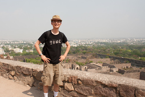 Near the top of Golconda Fort in Hyderabad