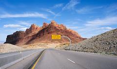 "20060411_9596...""Runaway truck ramp 1/2 mile"" (listorama) Tags: road terrain sign landscape utah highway desert 1600 communication reef sanrafaelswell i70 fromcar lightroom topography interstate70 sanrafaelreef ut2006apr"