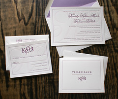 Letterpress Wedding Invitation: K + K 1/6 (smokeproof) Tags: wedding white thankyou lavender invitation letterpress rsvp envelopeliner smokeproof tonaldeboss