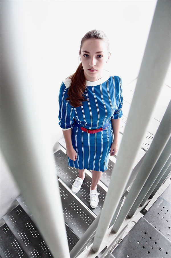 1970s striped long-sleeved dress; 1980s stretchable blue/red belt; Feiyue Lo White/Blue/Red Canvas sneakers