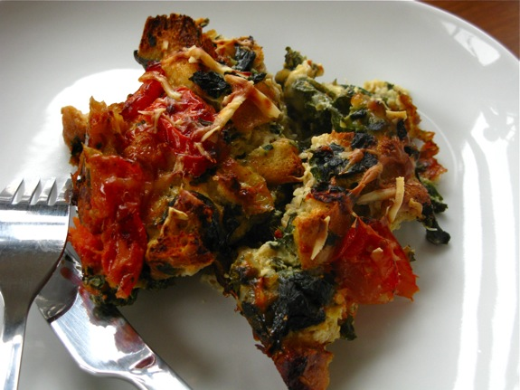 swiss chard tomato spinach asiago strata 009