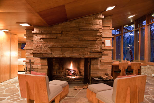 Central Fireplace at  Seth Peterson Cottage,  Frank Lloyd Wright architect
