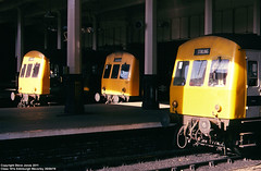 Class 101 line-up (Tutenkhamun Sleeping) Tags: uk train scotland edinburgh diesel britain transport rail railway gb british britishrail passengertrain dmu dieselmultipleunit edinburghwaverley multipleunit brblue class101 railblue edinburghwaverleystation corporateblue monastralblue