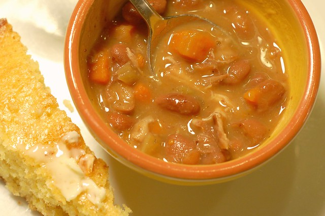 Pinto beans with pork belly & skillet corn bread by Eve Fox, The Garden of Eating blog, copyright 2011