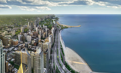 Chicago's Lake Shore Drive 3 - Panorama (Mister Joe) Tags: panorama chicago skyline illinois nikon downtown cityscape skyscrapers joe aerial lakemichigan lakeshoredrive lsd trail dynamicrange hdr northavenuebeach 2011