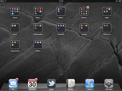 My iPad 2 Home Screen (showing various app icons in a grid formation, with key apps across the bottom of the screen)