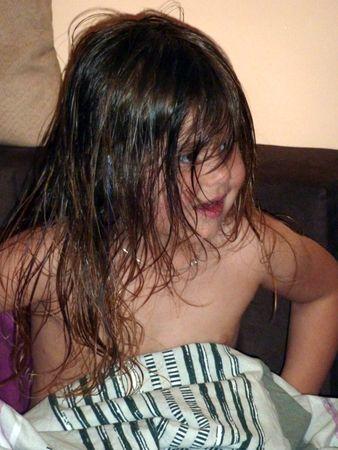 nach dem Haare waschen
