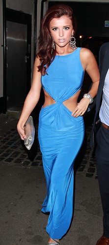 Lucy Meck in Own The Runway's Twist front dress at the TOWIE wrap party - 04.05.11