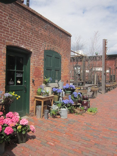 Toronto distillery district in Spring the week before mothers day the vintage garden displays plants and flowers