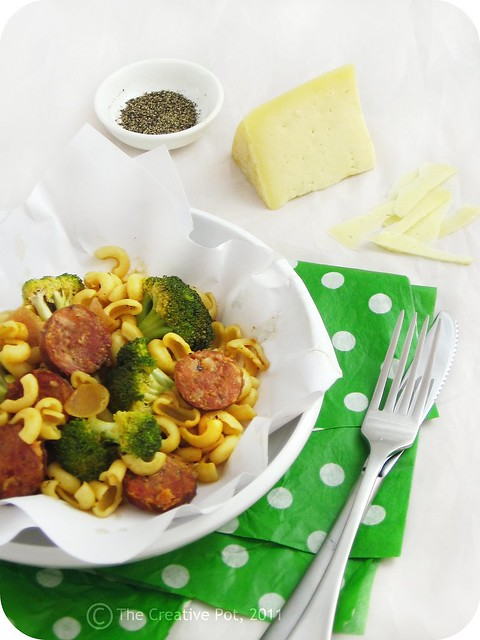 Kielbasa, Purple Onion and Broccoli Pasta c-w