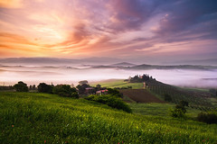 at dawn (Dennis_F) Tags: morning italien sky italy mist green nature colors grass fog clouds zeiss painting landscape dawn spring amazing paint italia nebel sony country hill landwirtschaft natur wide himmel wolken hills tuscany poppy getty belvedere cypress grn agriculture fullframe dslr toscana valdo