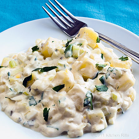 American (Mayonnaise) Potato Salad on plate with fork