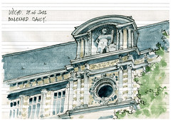 Liège, athénée Saucy (gerard michel) Tags: architecture sketch belgium aquarelle liège croquis watercolourb