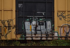 ICH (TheGraffitiHunters) Tags: graffiti graff spray paint street art colorful freight train tracks benching benched boxcar ich ichabod yme circle t straight letter