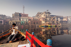 Mathura Rowing (Stefan Sjogren) Tags: mathura uttar pradesh india asia row boat dori bazaar mirror river yamuna