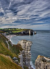 Etretat cliffs and beach (alcowp) Tags: cliffs sea resort beach etretat normandy normandie france