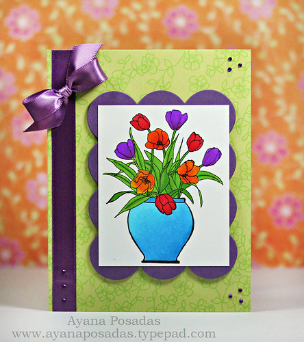 Vase of Colorful Tulips