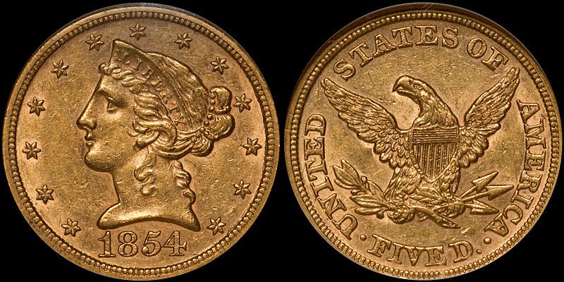 1854 $5.00 NGC AU58