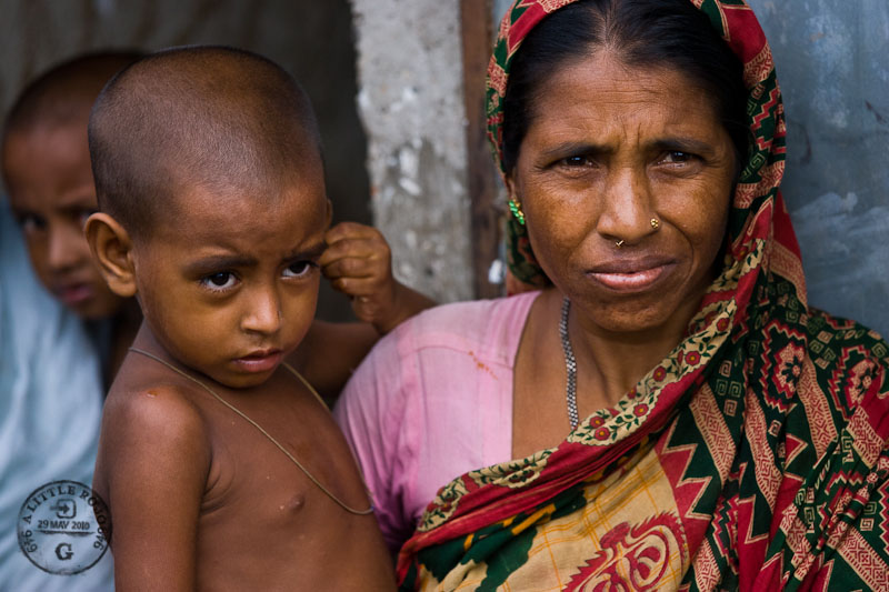 Portrait of a woman and child in Bangladesh.