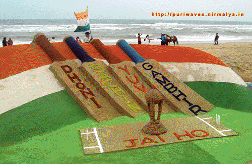 Four sand Bats for Indian cricket heros – Sand Art by Sudarsan Pattnaik