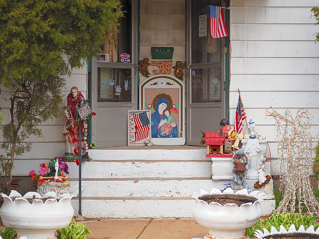 Pious decorations at a residence in the Hill neighborhood, in Saint Louis, Missouri, USA