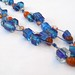 Blue and orange cane bead knotted necklace