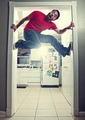 098/365 Monkeying Around (matthewcoughlin) Tags: selfportrait wall hallway climbing jeans kicks climber chucks speedlite offcameraflash strobist 3652011 2011inphotos