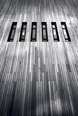 cladding (james_drury) Tags: wood york windows light architecture modern mono blackwhite university east heslington sigma1020