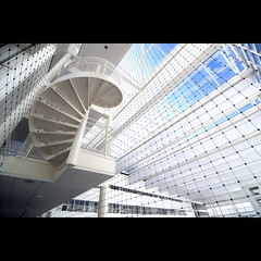 Lines and curves (Maerten Prins) Tags: blue sky white net lines stairs spiral grid steel wideangle denhaag curl curve 16mm gemeentehuis