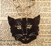 Black Cat Head Necklace BIG Black Cat