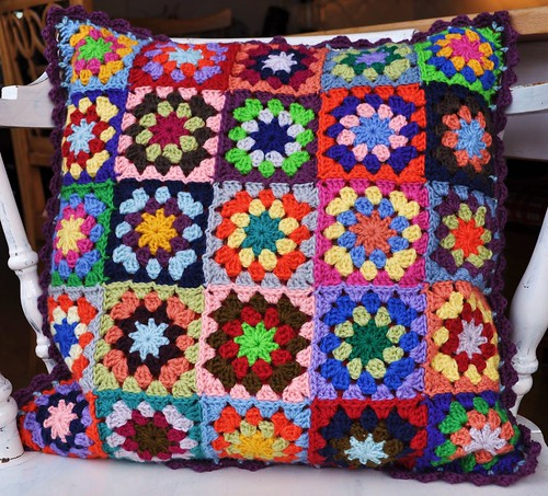 My new crochet pillow, that my sister made.