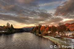 Dunkeld Sunrise from Bridge (Youngci) Tags: uk trees sunrise scotland countryside highlands perthshire scenic dunkeld picturesque