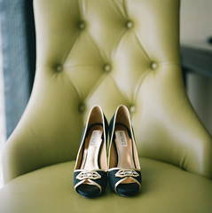 it's the shoes. (susan . {en pointe}) Tags: wedding black green film leather gold chair shoes fuji hasselblad medium format tufted 220 400h badgley mischka