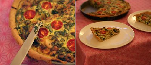 bärlauch-tarte mit tomaten & pilzen